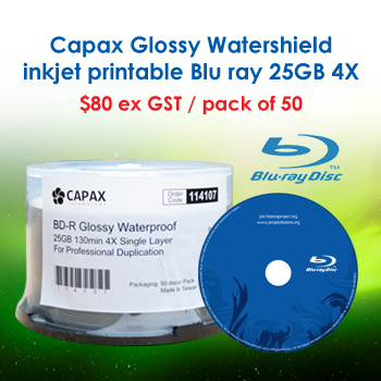 Glossy Watershield Inkjet printable Blu Ray